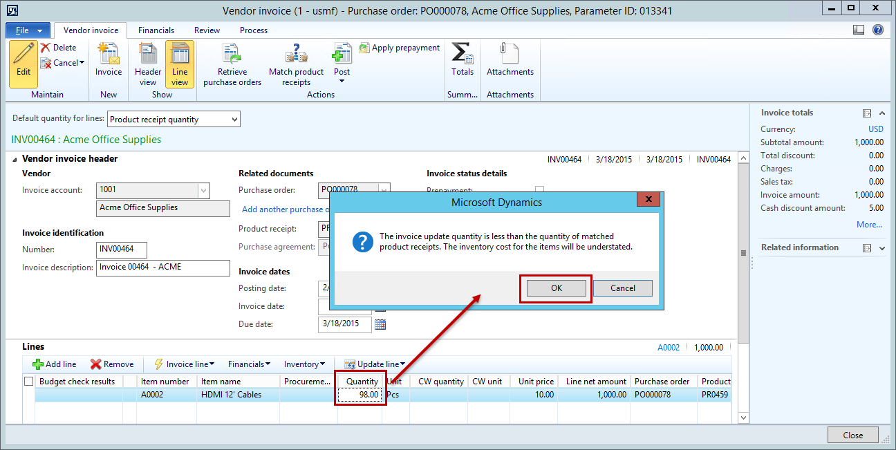 dynamics ax purchase order invoice  product receipt  higher   actual invoice amount